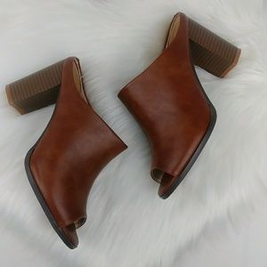 7 FAM Mexx Peep-Toe Mules Faux Leather Chunky Heel